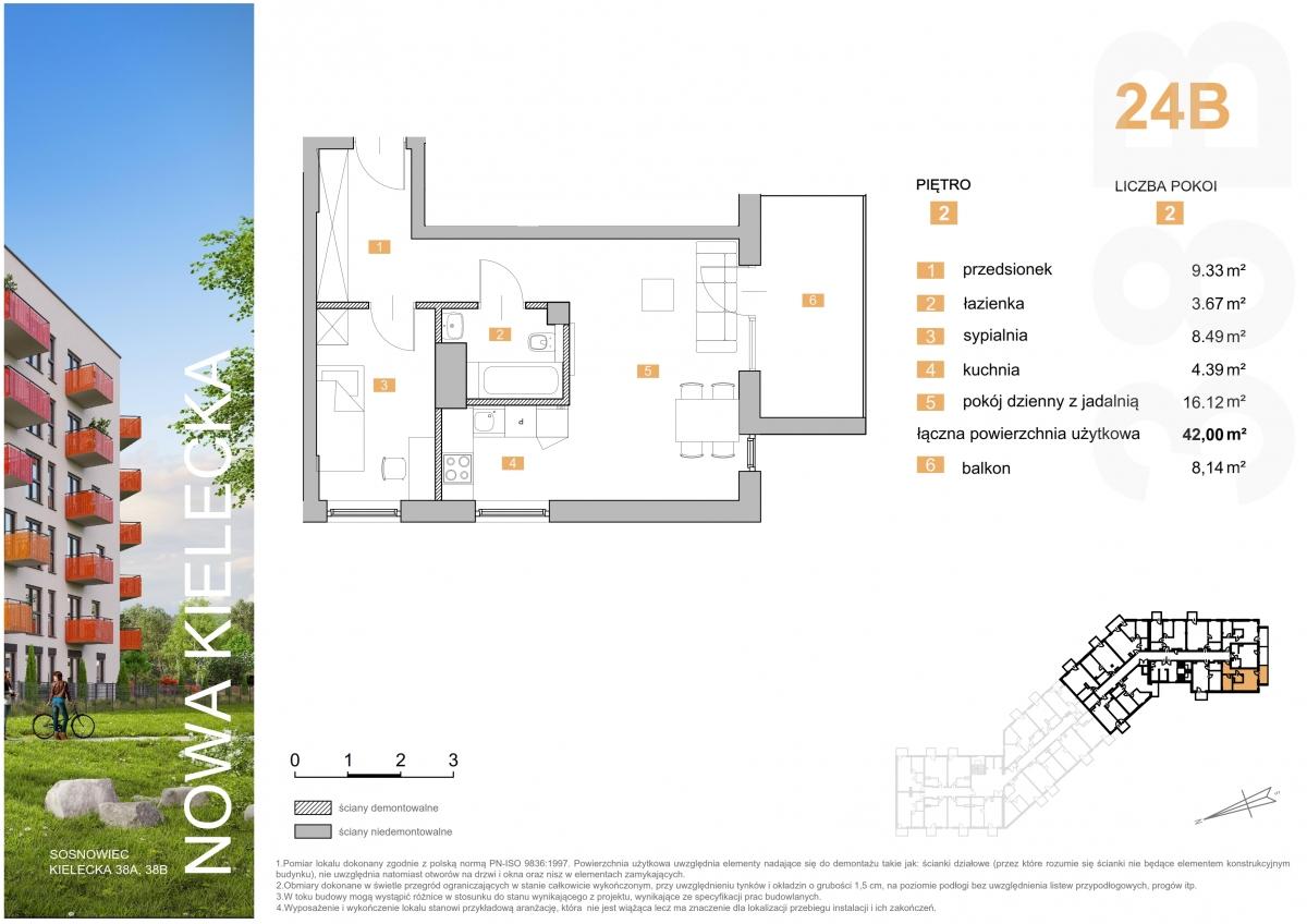 Mieszkanie 24B - 42,00 m2