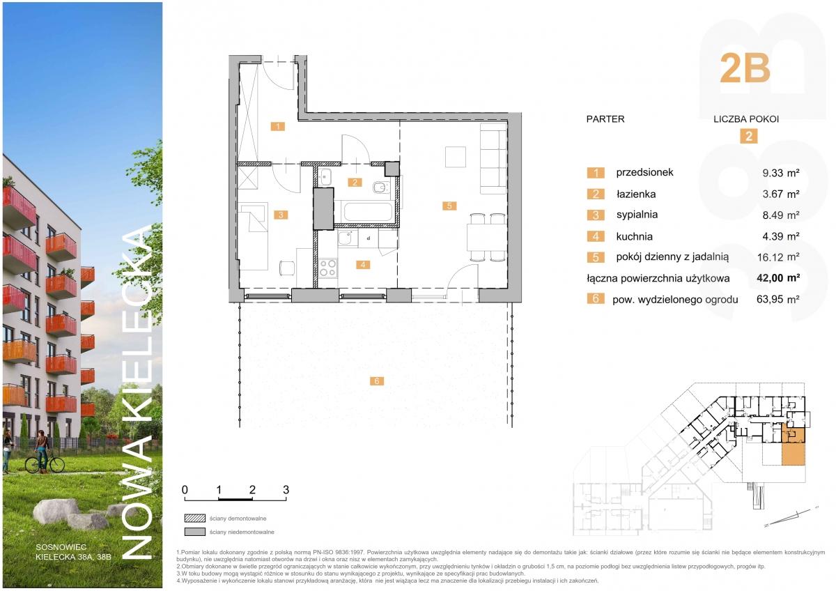 Mieszkanie 2B - 42,00 m2