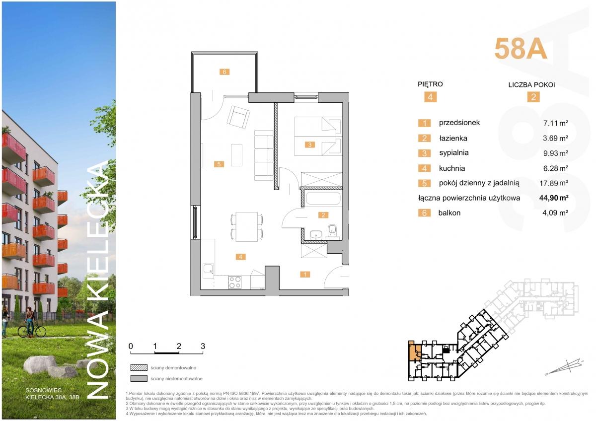 Mieszkanie 58A - 44,90 m2