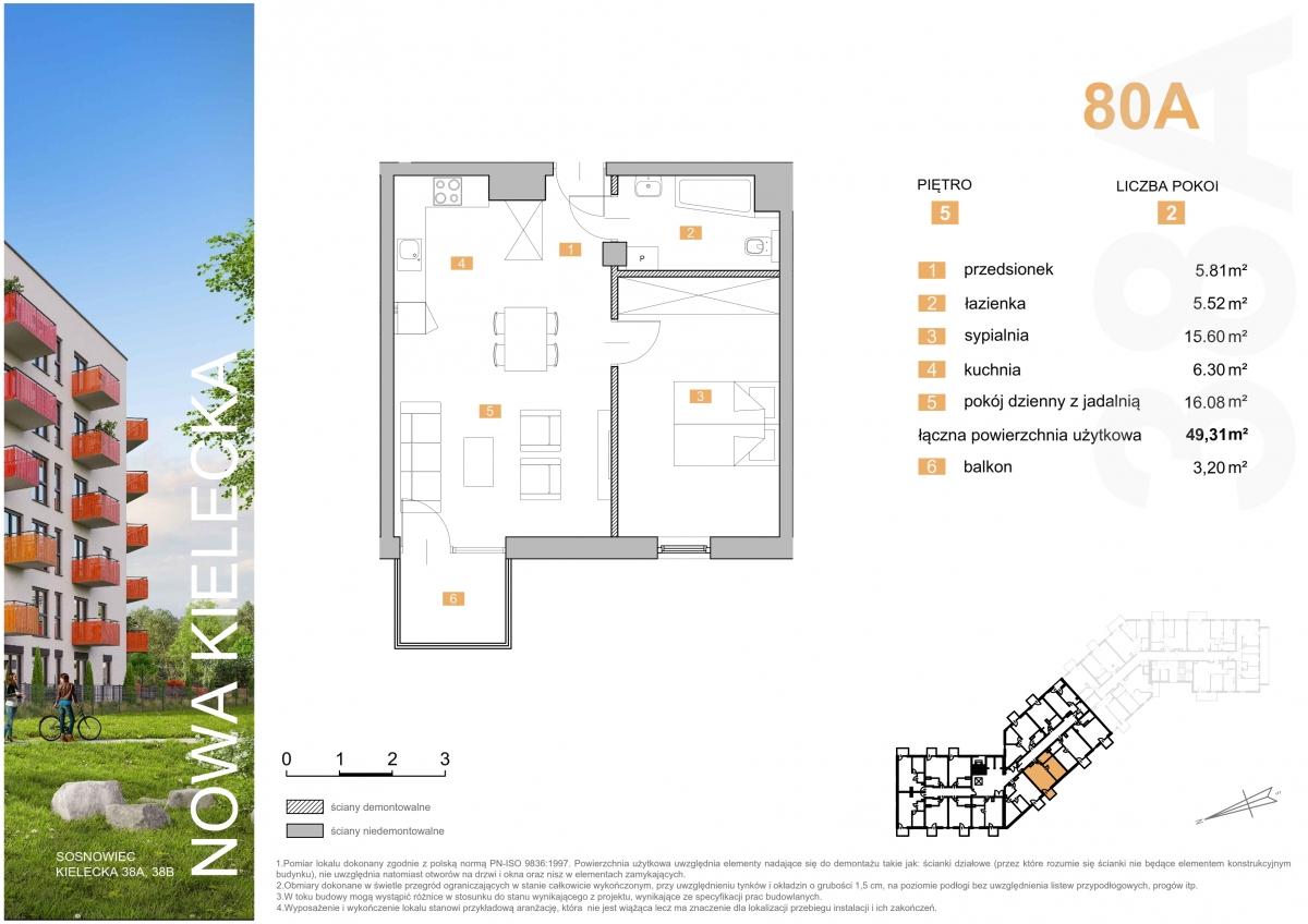 Mieszkanie 80A - 49,31 m2