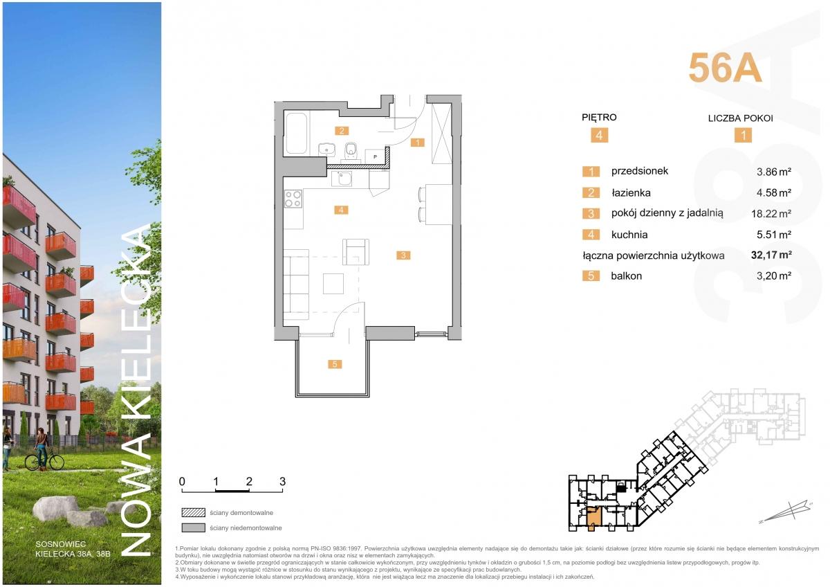 Mieszkanie 56A - 32,17 m2
