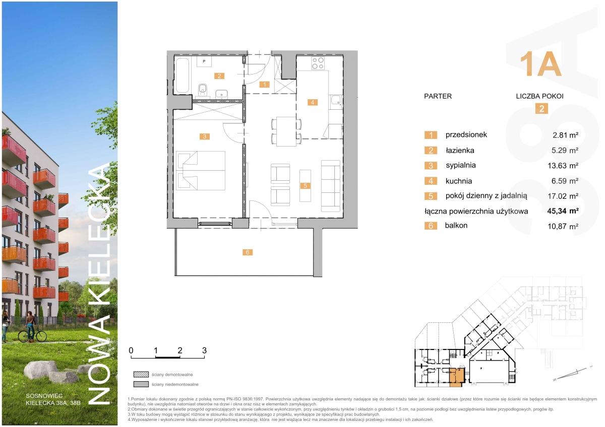 Mieszkanie 1A - 45,34 m2