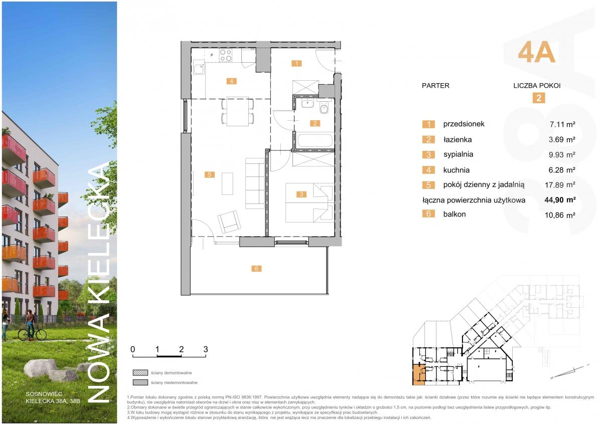 Mieszkanie 4A - 44,90 m2
