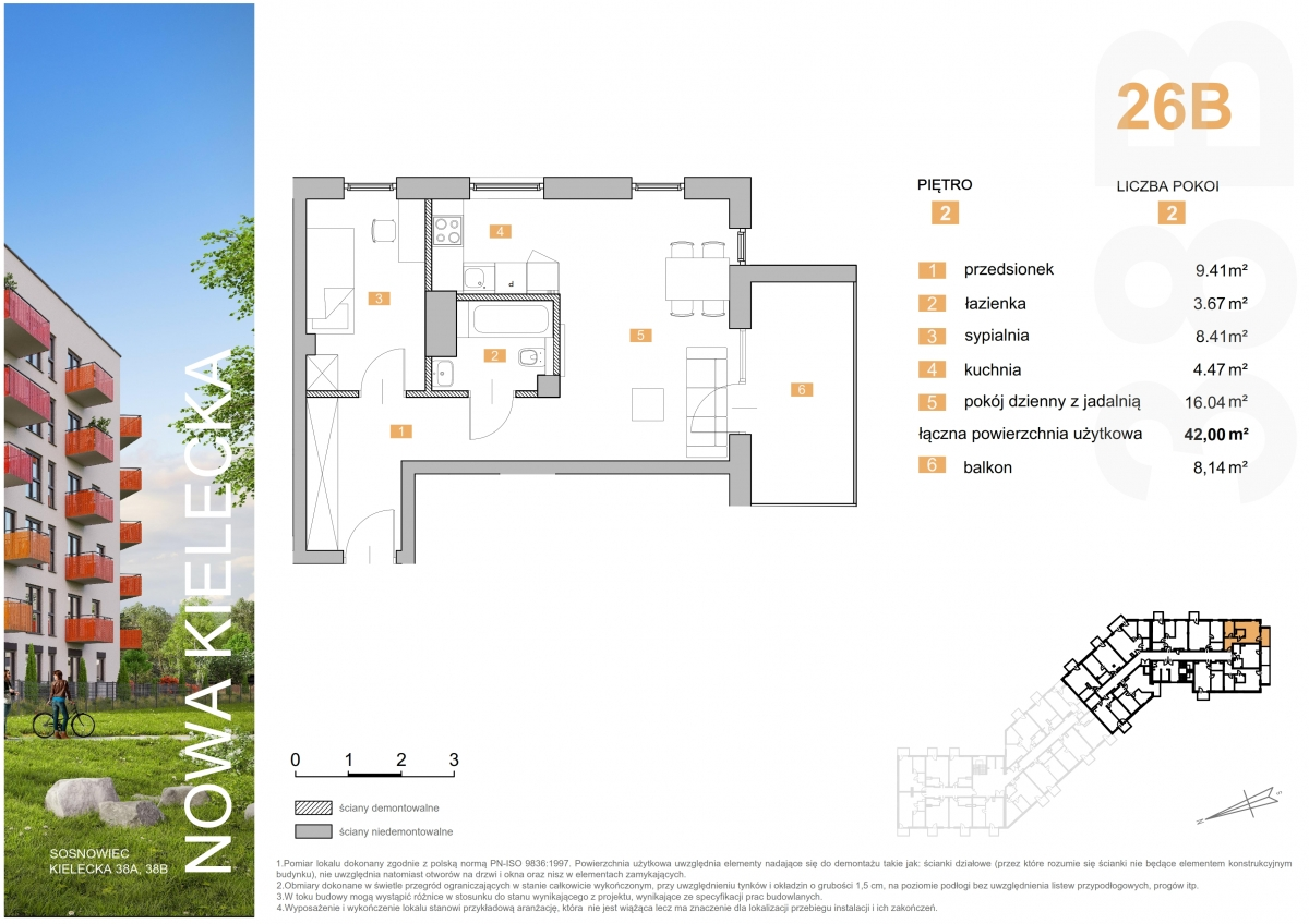 Mieszkanie 26B - 42,00 m2
