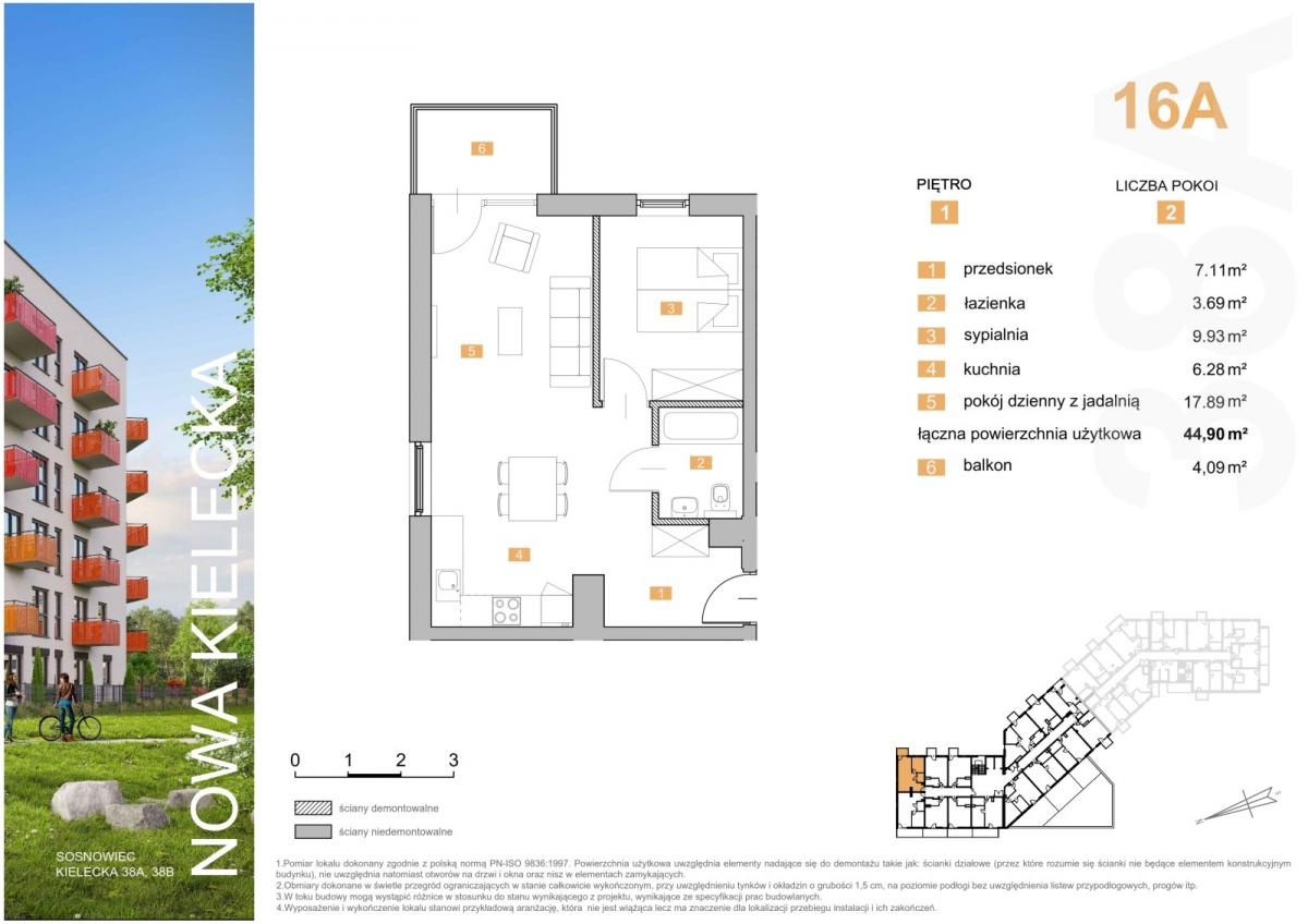 Mieszkanie 16A - 44,90 m2