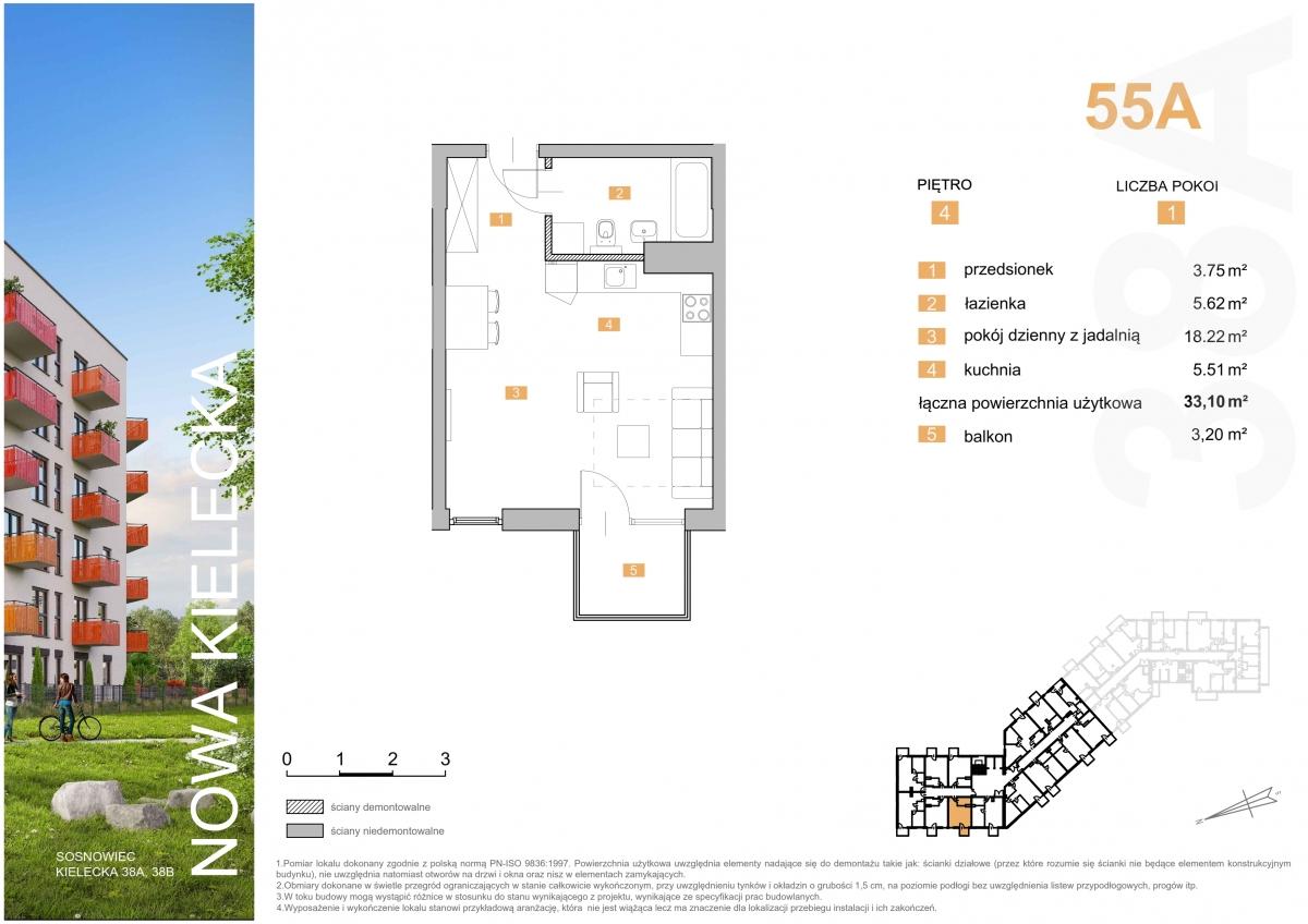 Mieszkanie 55A - 33,10 m2