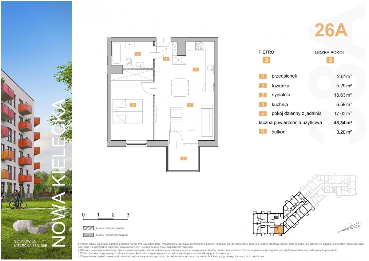 Mieszkanie 26A - 45,34 m2