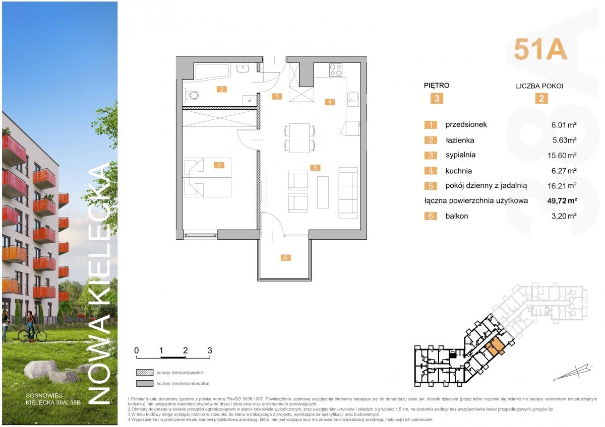 Mieszkanie 51A - 49,72 m2