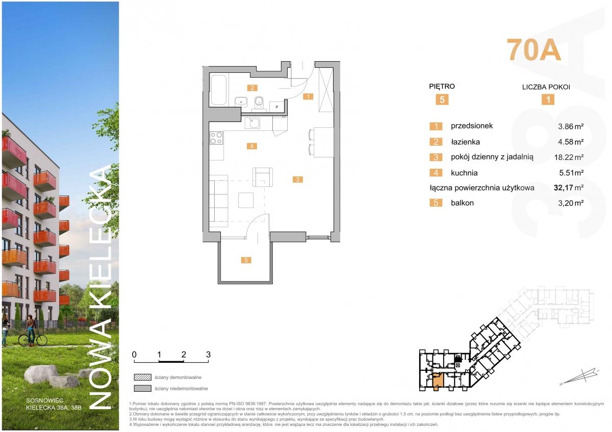 Mieszkanie 70A - 32,17 m2