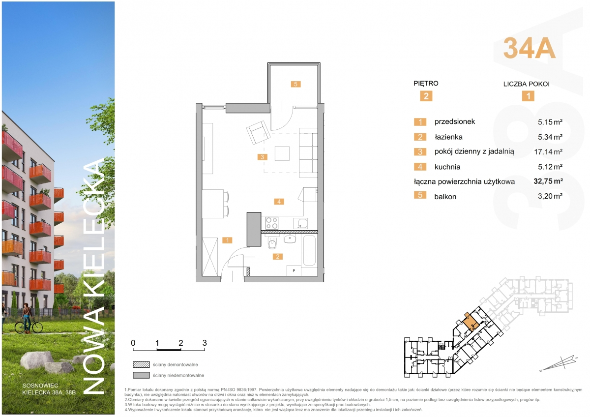 Mieszkanie 34A - 32,75 m2