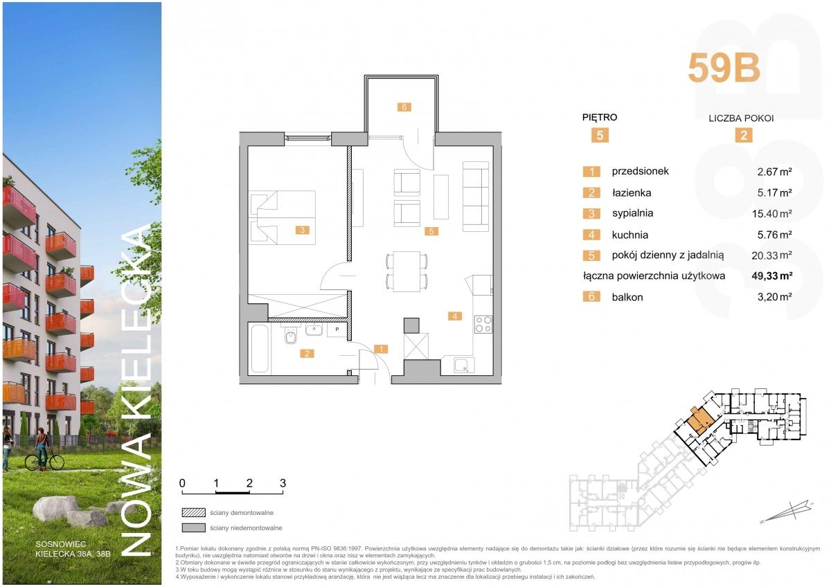 Mieszkanie 59B - 49,33 m2