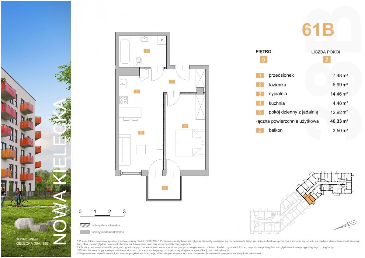 Mieszkanie 61B - 46,33 m2