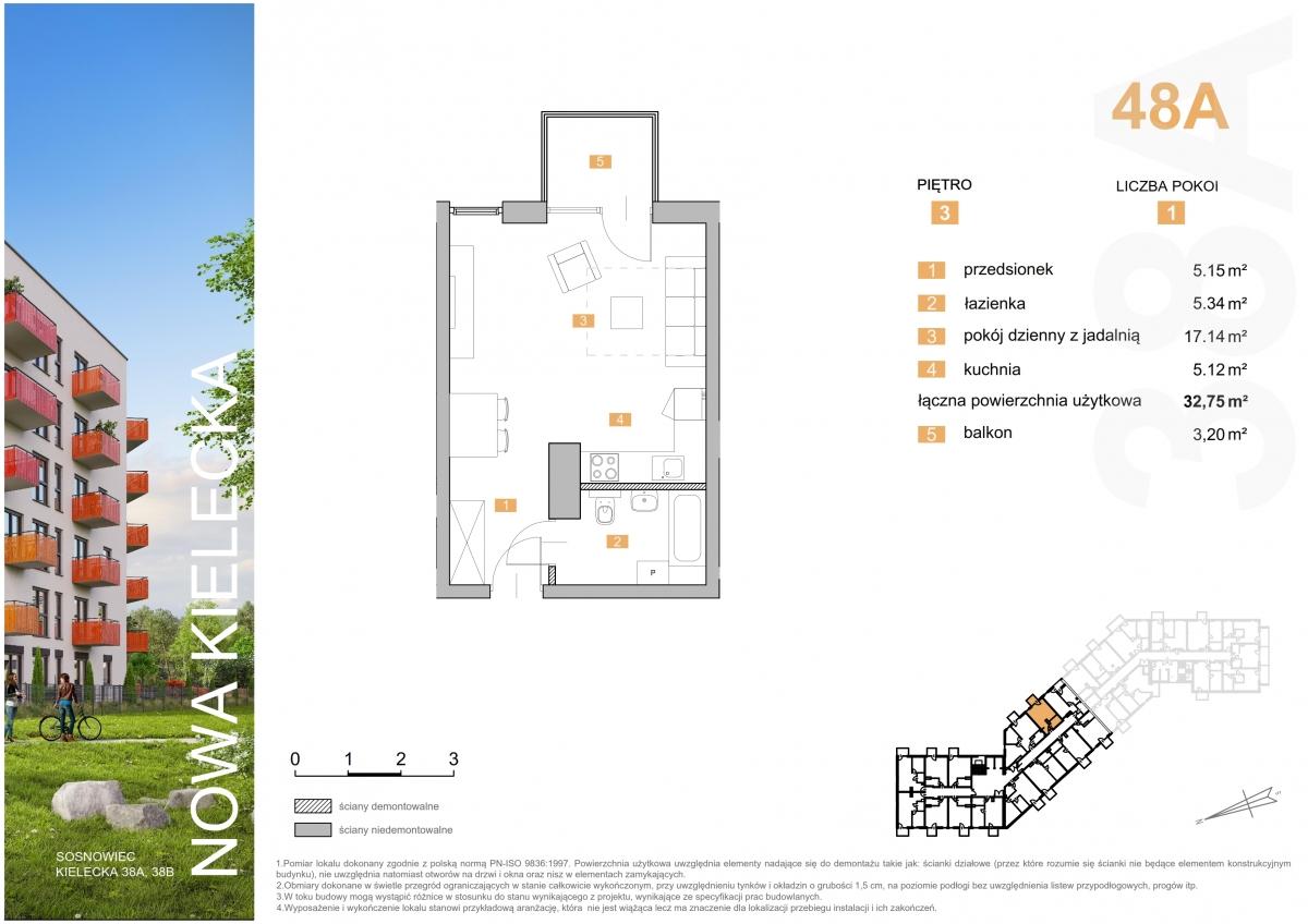 Mieszkanie 48A - 32,75 m2