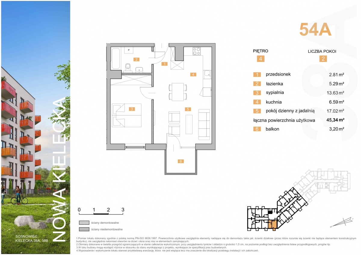 Mieszkanie 54A - 45,34 m2