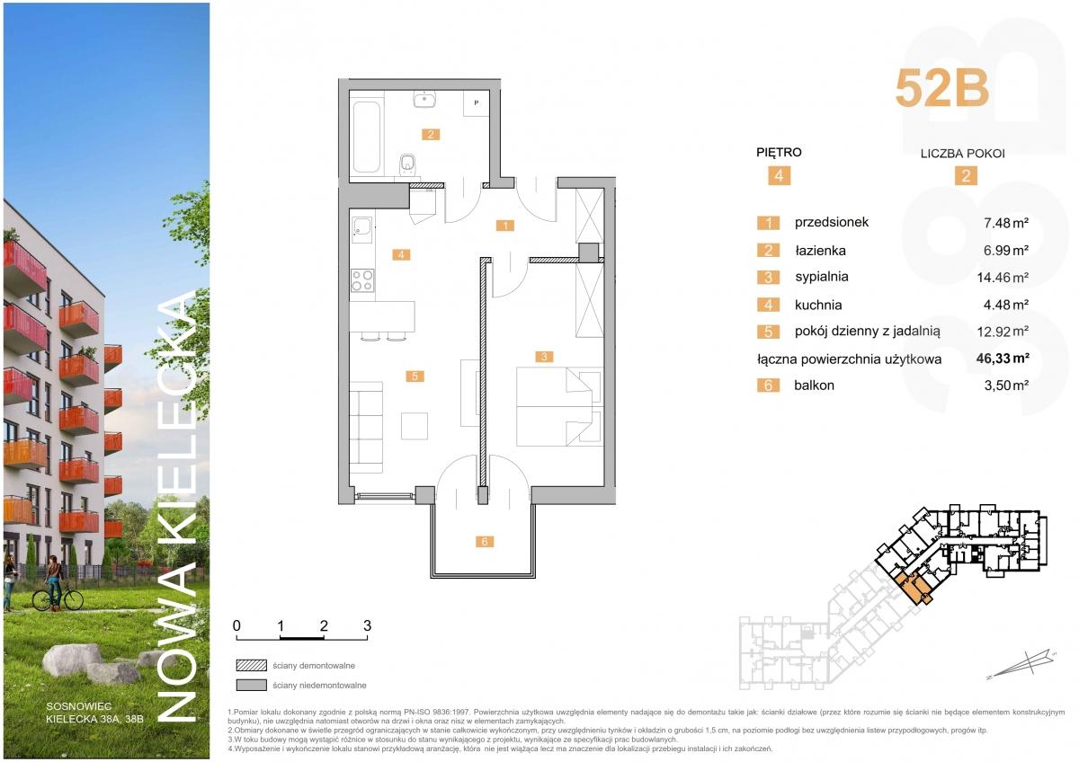 Mieszkanie 52B - 46,33 m2