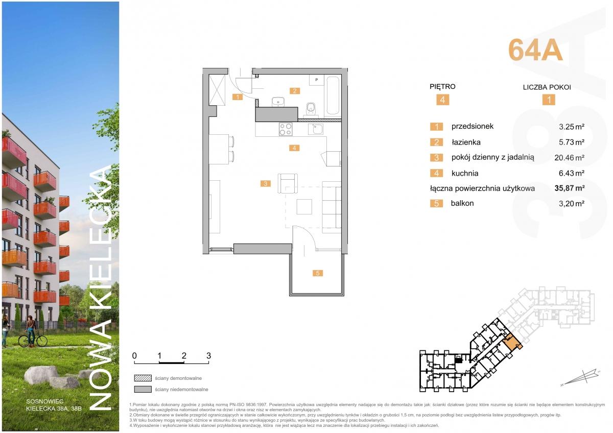Mieszkanie 64A - 35,87 m2