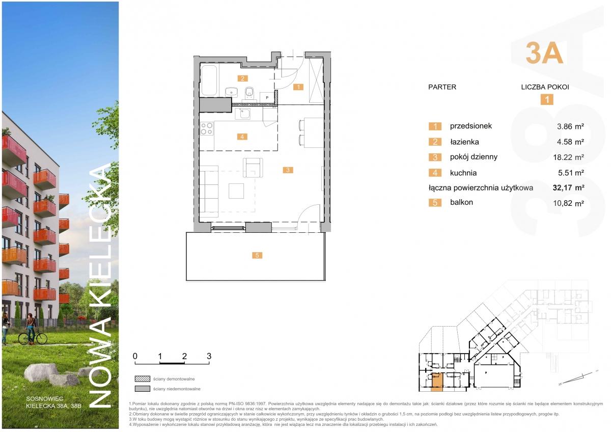 Mieszkanie 3A - 32,17 m2
