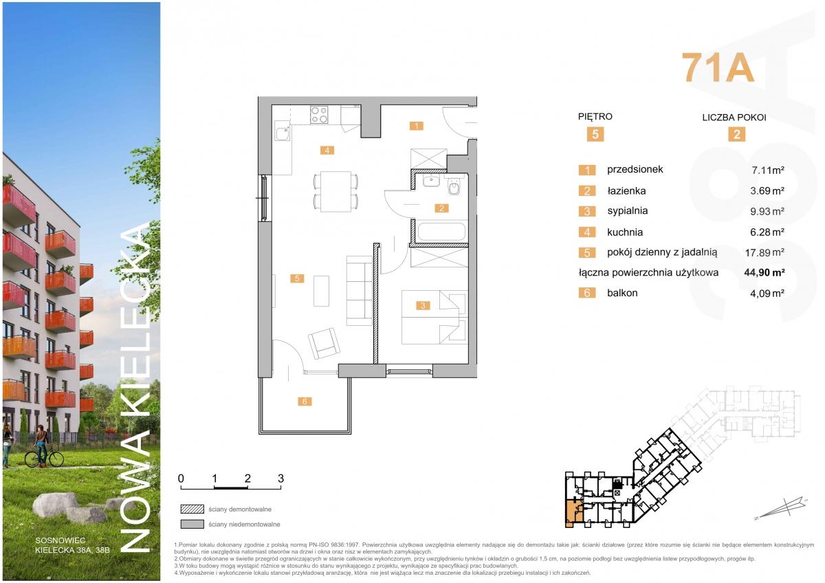 Mieszkanie 71A - 44,90 m2