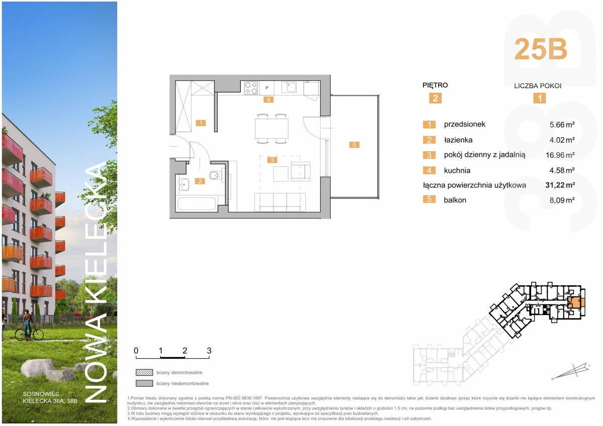 Mieszkanie 25B - 31,22 m2
