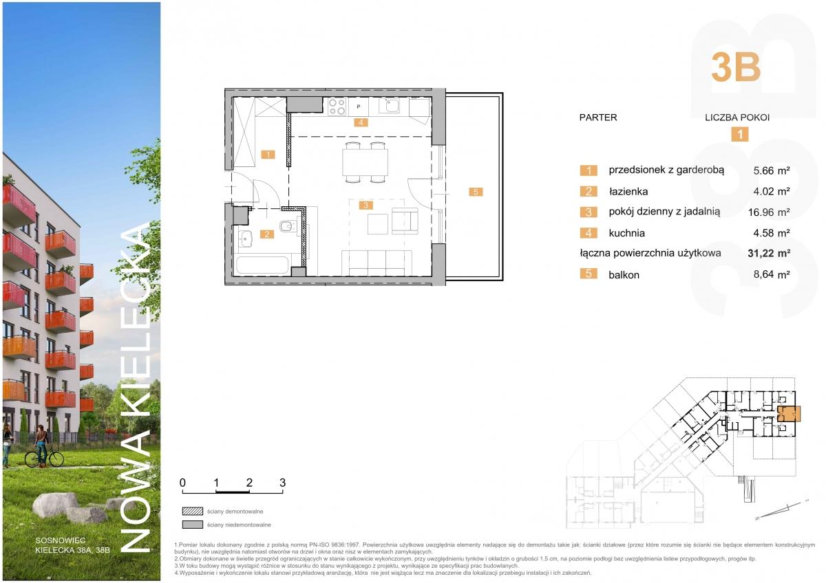 Mieszkanie 3B - 31,22 m2