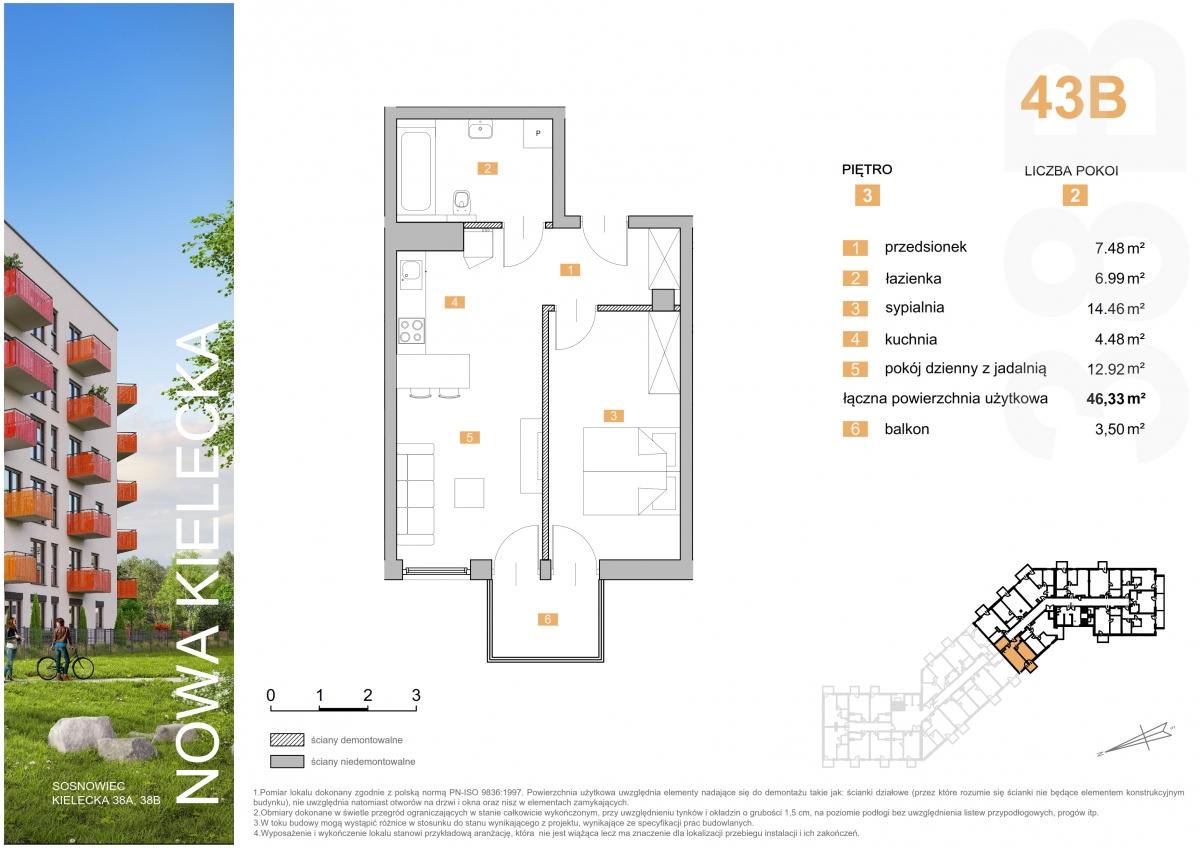 Mieszkanie 43B - 46,33 m2