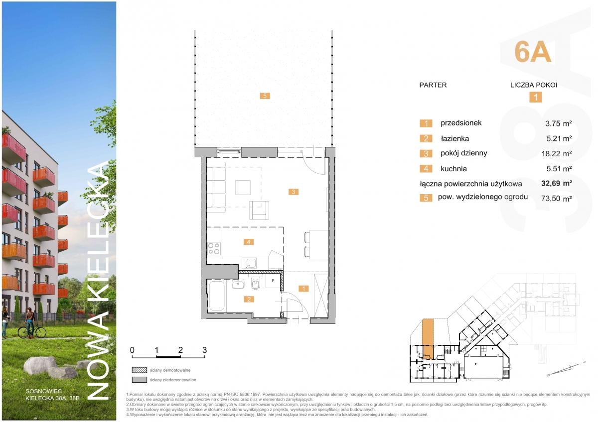 Mieszkanie 6A - 32,69 m2