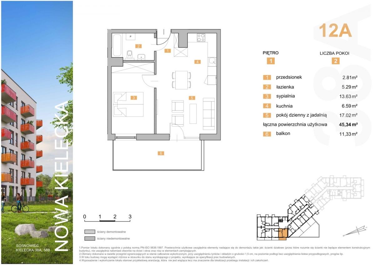 Mieszkanie 12A - 45,34 m2