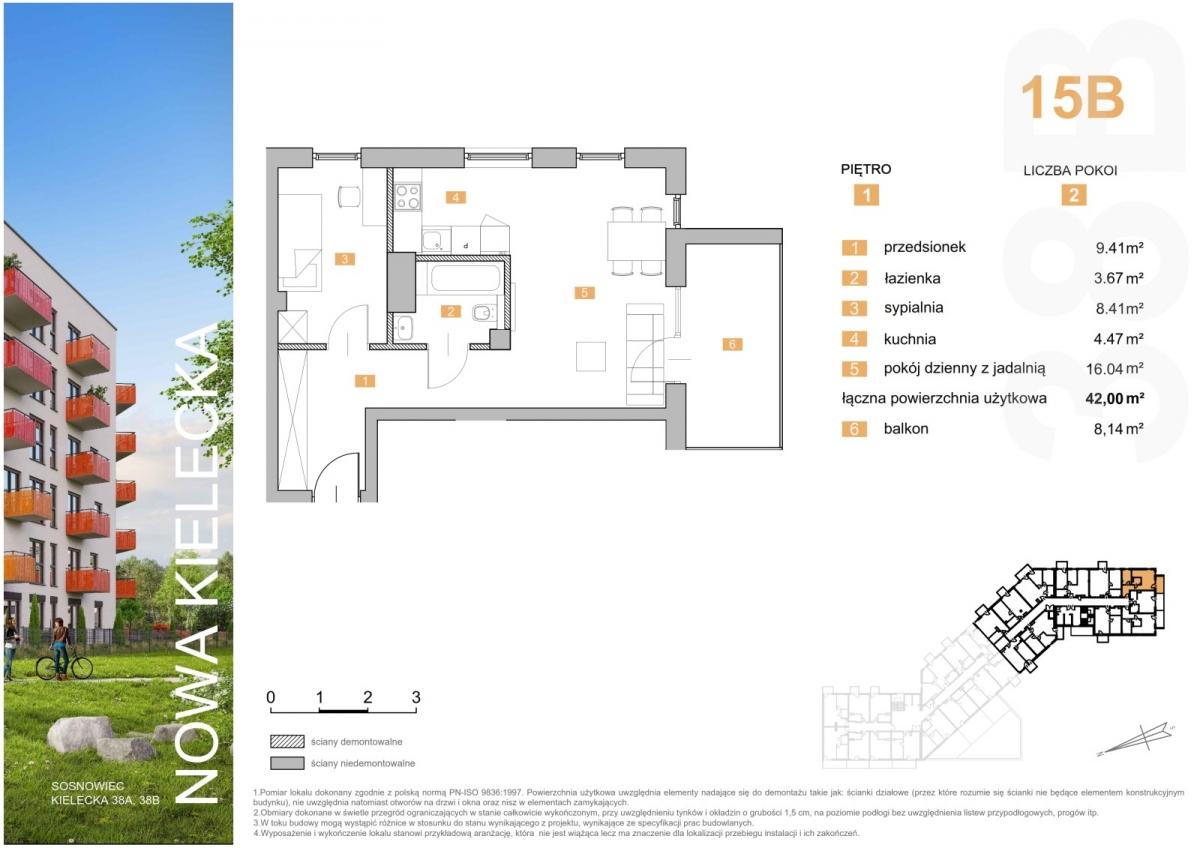 Mieszkanie 15B - 42,00 m2