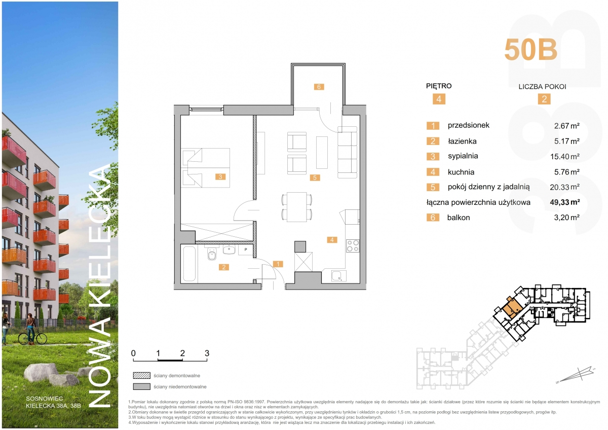 Mieszkanie 50B - 49,33 m2