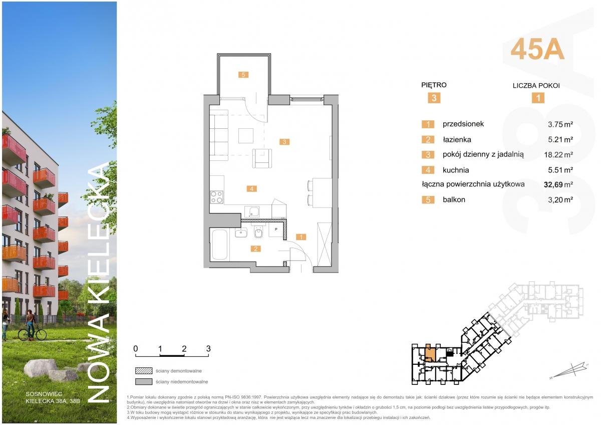 Mieszkanie 45A - 32,69 m2