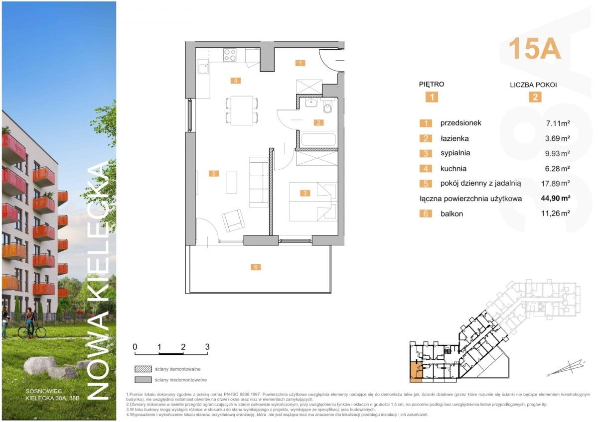 Mieszkanie 15A - 44,90 m2