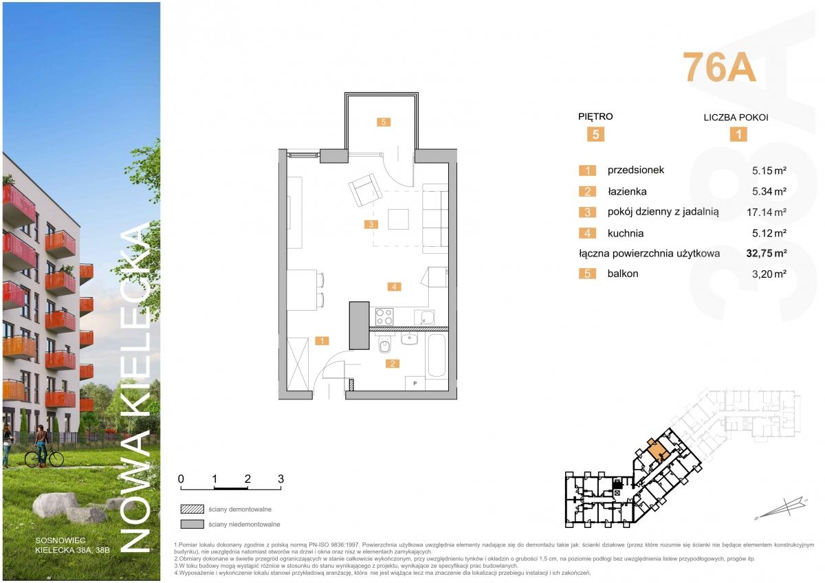 Mieszkanie 76A - 32,75 m2