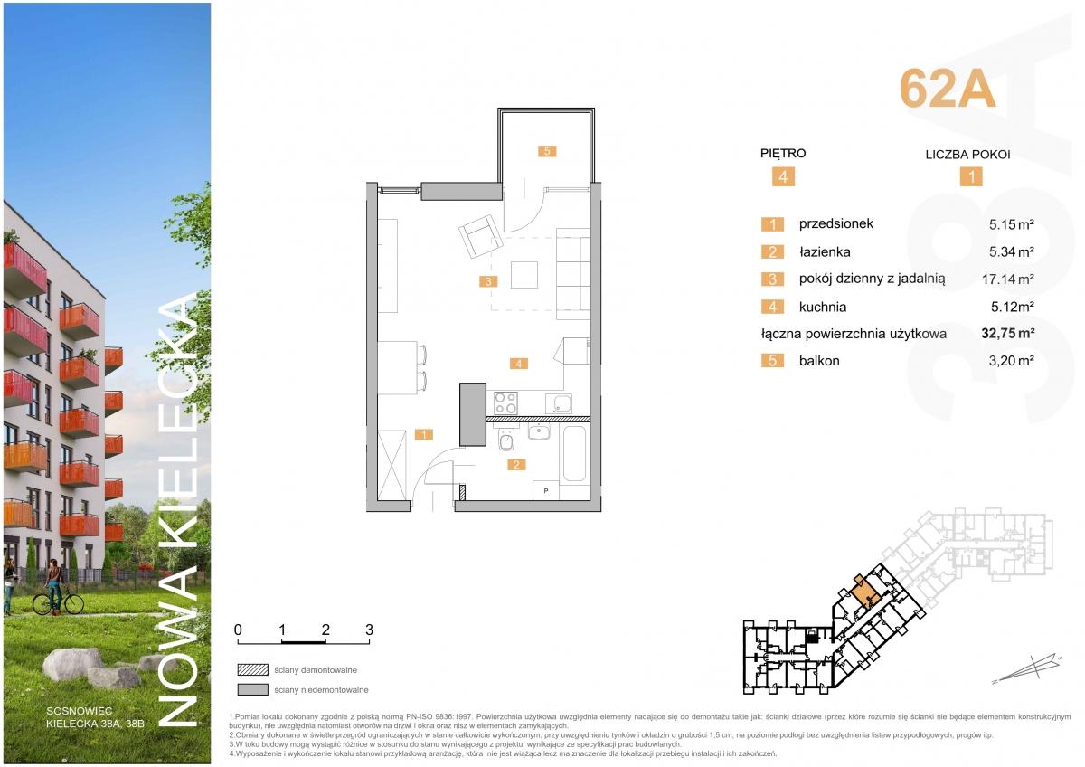 Mieszkanie 62A - 32,75 m2