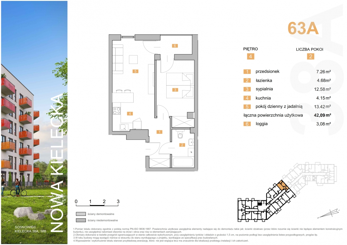 Mieszkanie 63A - 42,09 m2