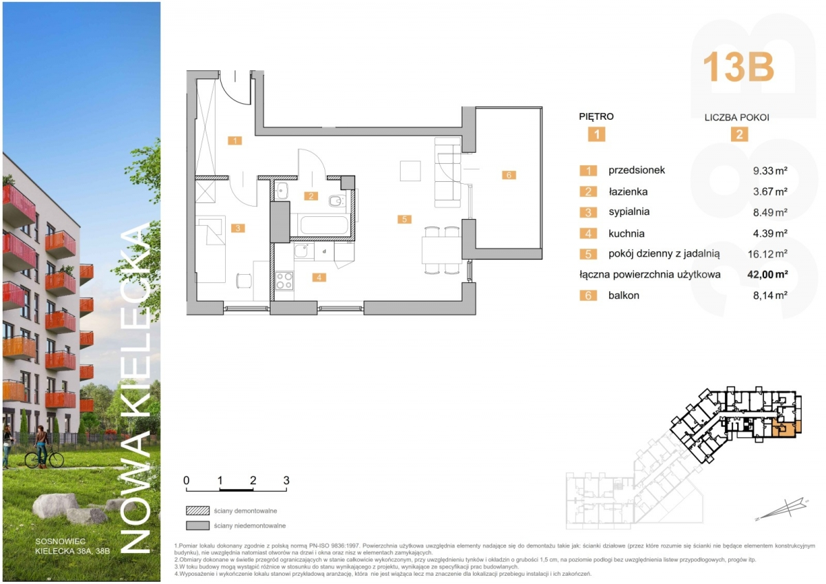 Mieszkanie 13B - 42,00 m2