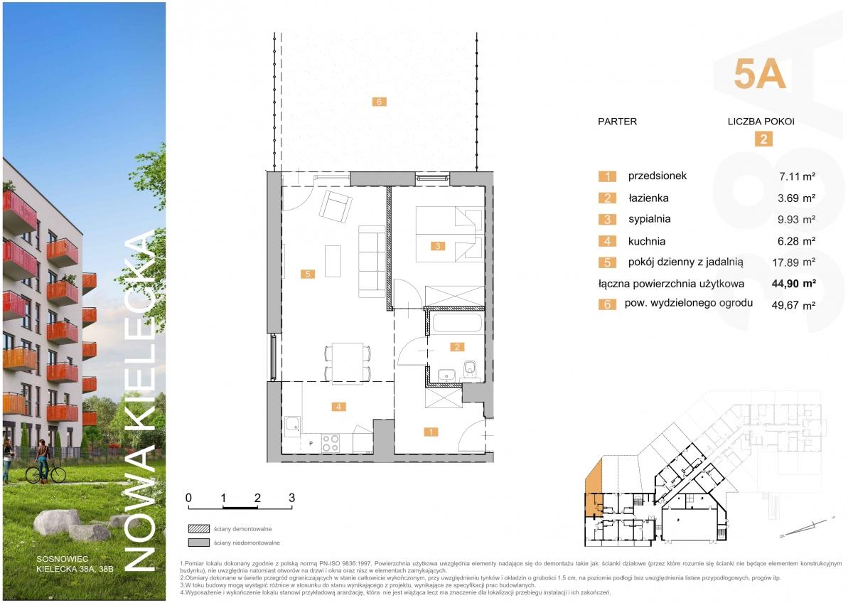 Mieszkanie 5A - 44,90 m2