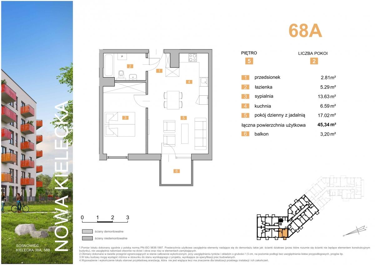 Mieszkanie 68A - 45,35 m2
