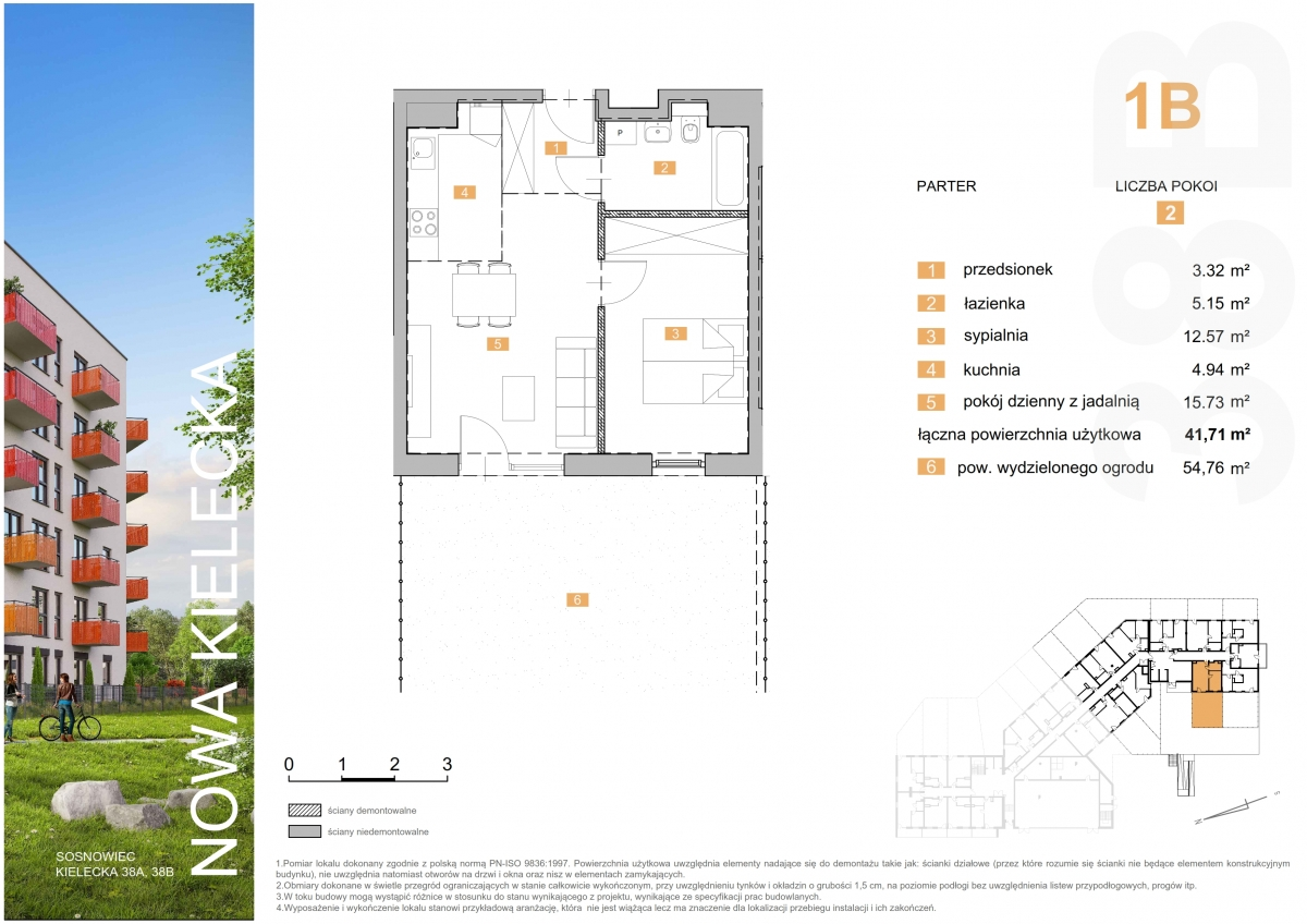 Mieszkanie 1B - 41,11 m2